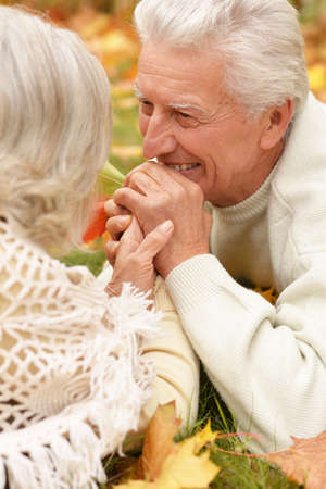 Beautiful senior couple relaxing in the park