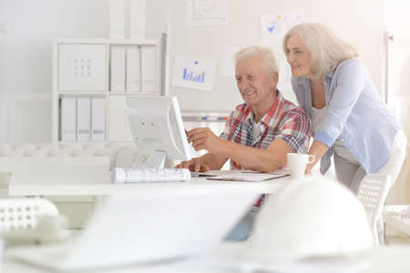 Successful senior businesspeople working together in modern office
