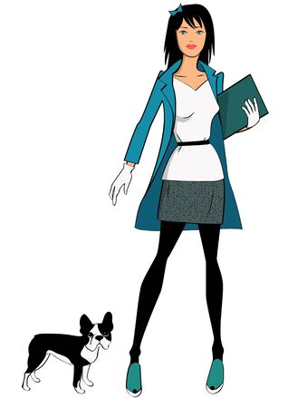 dog walk: Stylish girl with her dog Illustration