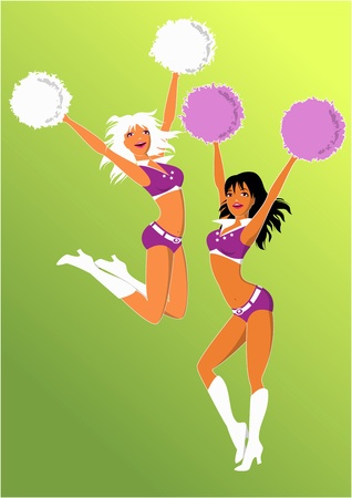 pompon: Two cheerleaders cheering Illustration