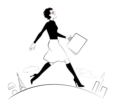 businessperson: Buisnesswoman marching on the globe Illustration