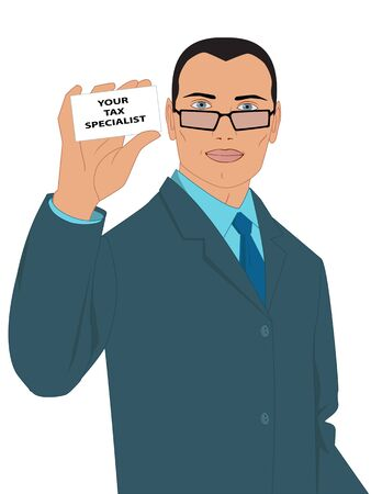 adviser: Businessman in a suit holding a symbolic business card, saying Your tax specialist Illustration
