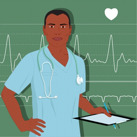 heart monitor: African-American healthcare professional in hospital scrubs, with stethoscope, holding a clipboard, heart monitor background