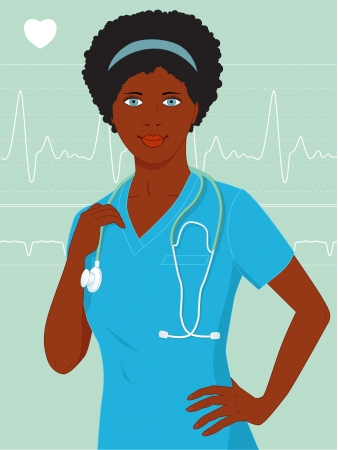 heart monitor: Attractive African-American woman in hospital scrubs with stethoscope, with heart monitor on background Illustration