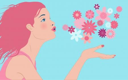 Profiel van een mooie jonge vrouw blaast weg een wolk van roze bloemen uit haar hand Stock Illustratie