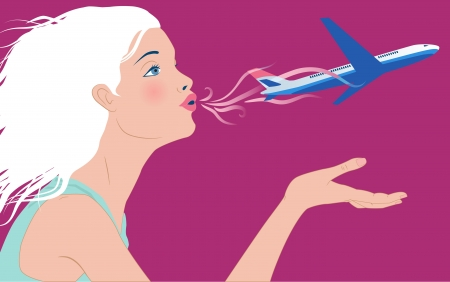 Profile of a beautiful young woman blowing away an airplane off her hand Illustration