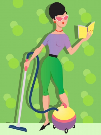 cute woman in 1960s outfit vacuuming and reading a book at the same time Vector