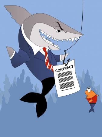 비즈니스 상어는 작은 물고기 고객에게 계약을 제공합니다