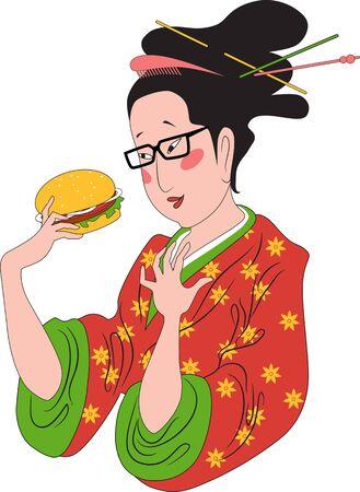 admiring: Traditionally dressed Japanese lady in kimono admiring a hamburger