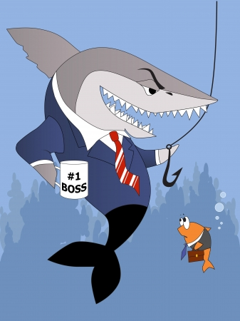 Business shark handling a fishing hook to a terrified small fish employee