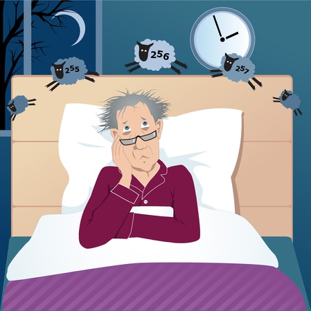 insomnio: Hombre de mediana edad con insomnio acostado en su cama en el medio de la noche contando ovejas Vectores