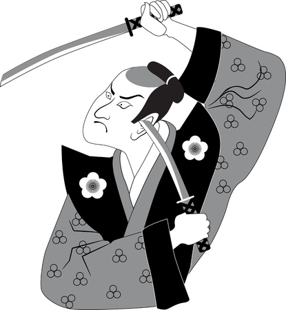 Traditionally dressed samurai with two swords in his hand