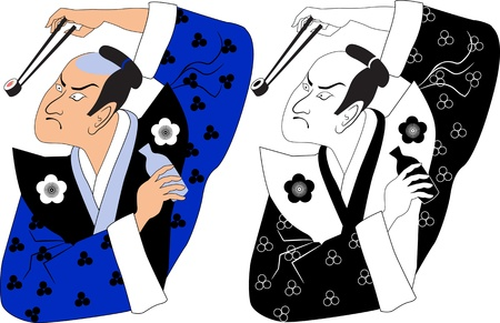 Black and white and colored variations of a samurai holding a sushi roll in chopsticks