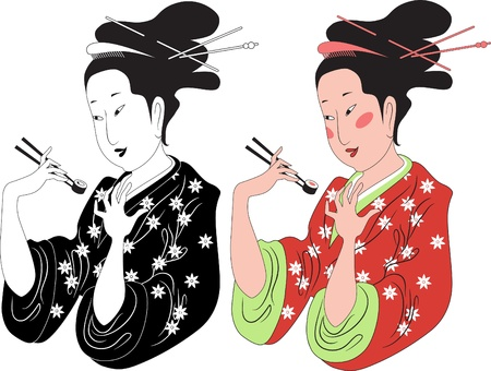 classic woman: Tradicionalmente dama vestida en kimono japon�s disfruta de rollo de sushi