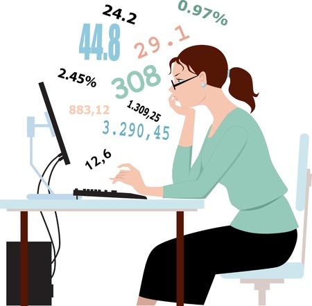 Mujer joven con gafas sentado frente a una computadora, trabajar con números Ilustración de vector