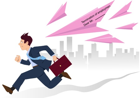 Businessman running from paper planes made of employment termination slips Illustration