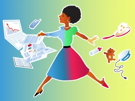 time pressure: Cute black woman making a leap from her home chores to the work responcibilities Illustration