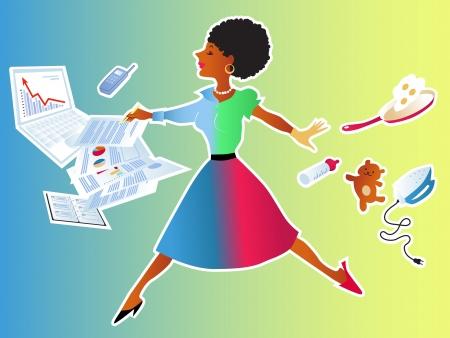 sacrificio: Mujer linda negro dando un salto de las tareas de su casa a las responcibilities trabajo