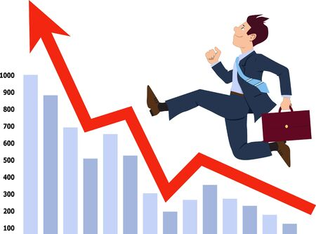 increase business: Energetic businessman running up the graph