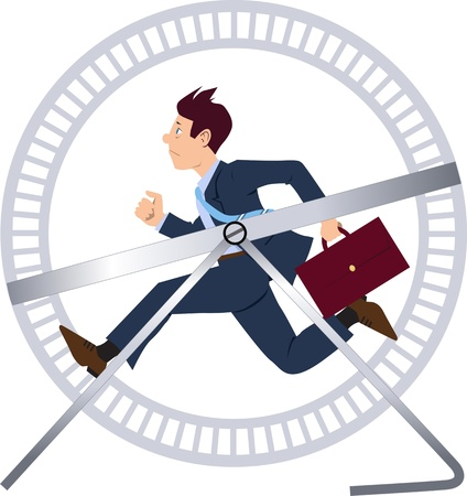 downshift: Stressed businessman running in a hamster wheel