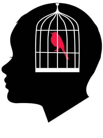repetitive: Child profile with a bird in a cage Illustration