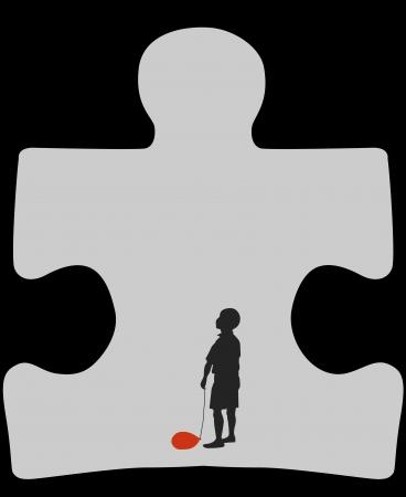 special education: Sihluette de un ni�o con un globo desinflado dentro del s�mbolo del autismo