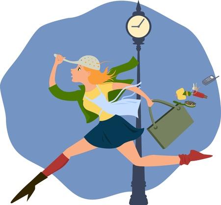 Mujer joven corriendo a toda prisa a medio vestir