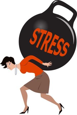 mujer estres: Mujer bajo una pesada carga de estr�s Vectores