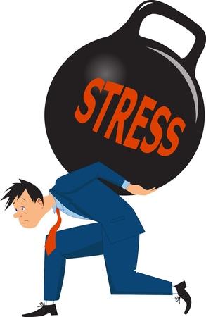 dealing: Businessman under a heavy load of stress Illustration