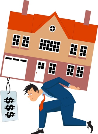 equity: Depressed man carrying a house with a big price tag Illustration