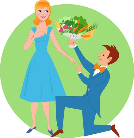 Smiling young man kneeling and giving a bouquet of fresh vegetables to a pretty woman
