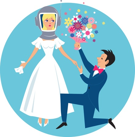 Smiling groom kneeling and giving a bouquet of flowers to an allergic bride in a diving helmet