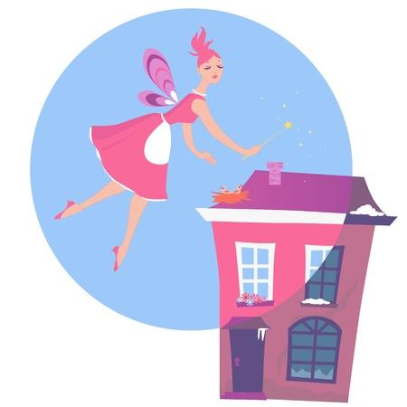huis opruimen: Cute fairy zweefde over een huis, magische schoonmaken en transformeren van winter naar lente Stock Illustratie