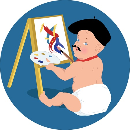 Baby artist in a beret and mustache Illustration