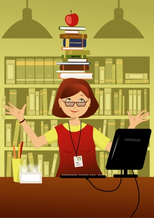 bibliography: Librarian in a library behind her desk balancing a stack of books on her head, smiling