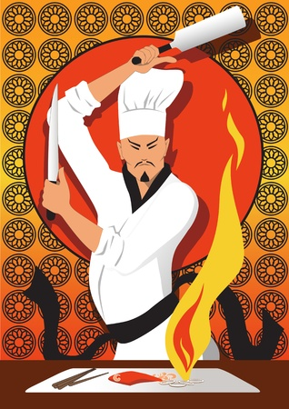 Japanese chef with a knife and a spatula cooking a stake, shrimp and vegetables on a flaming hibachi grill  Stock Illustratie