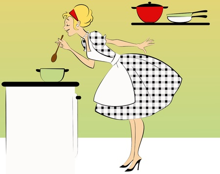 Woman in a cute 1950s outfit cooking in her kitchen Stock Illustratie