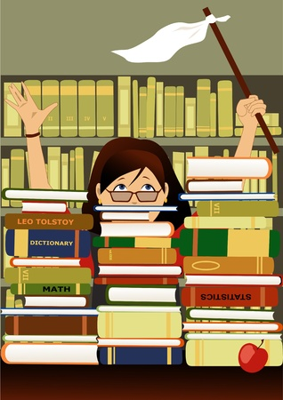 Female student in glasses waving a white flag behind a wall of books in a library