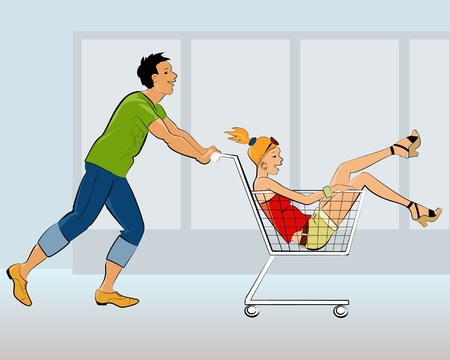 A young guy pushing a shopping cart with a teenage girl in it in a store Vector