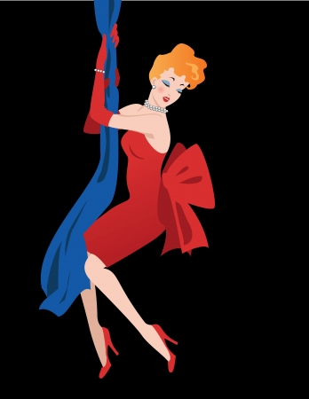 A sexy redhead woman in a red cocktail dress climbing down the drapes at night