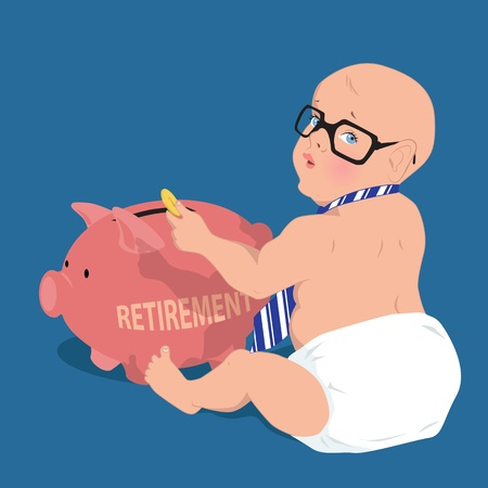 Cute baby in a diaper, neck-tie and glasses putting a coin in a piggy bank, saving for retirement