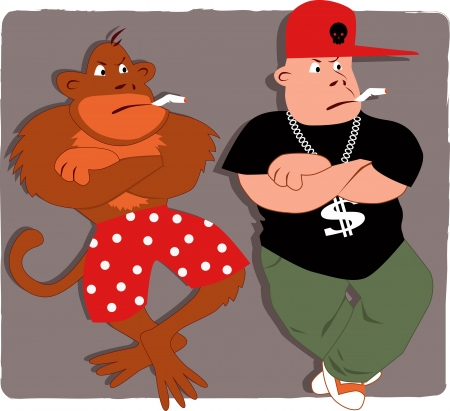 gangsta: Gangsta poser and a monkey smoking Illustration