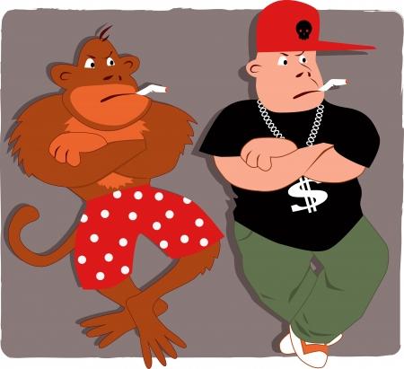 peer to peer: Poser Gangsta y un mono de fumar Vectores