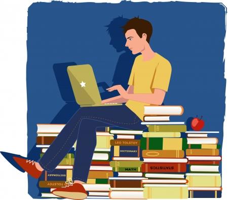 Jonge man werkt op een laptop, zittend op een stapel schoolboeken