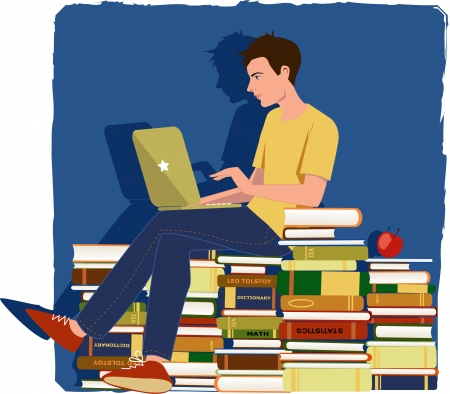 Young man working on a laptop, sitting on a pile of textbooks Stock Vector - 19025756