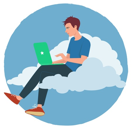 man using computer: Young man working on a computer sitting on a cloud Illustration