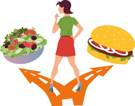 Young woman standing at the fork in the road, choosing between a salad and a hamburger Vectores
