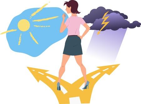 fourchette  route: Jeune femme debout � la bifurcation de la route, le choix entre le bonheur et la d�pression