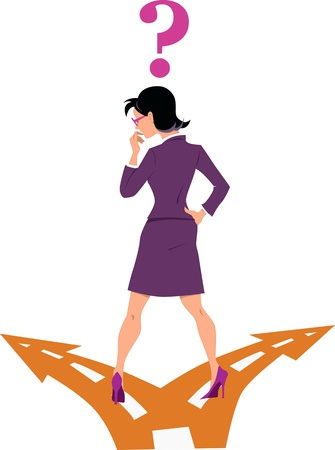 cruce de caminos: Empresaria de pie en el tenedor en la carretera, la elección entre dos opciones, signo de interrogación sobre su cabeza