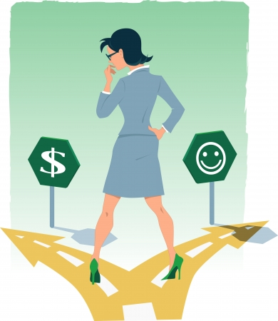 Businesswoman standing at the fork in the road, choosing between the money and happiness